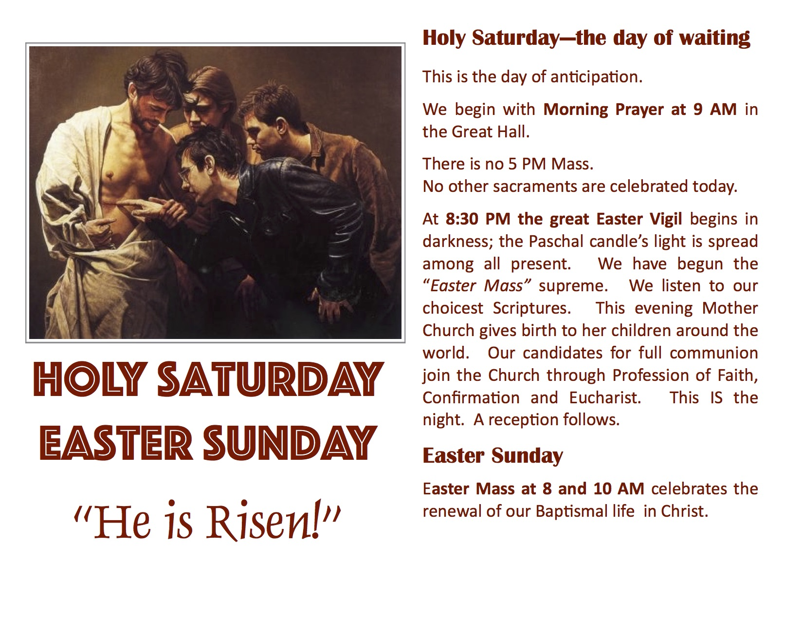 Holy Saturday-Easter monitor