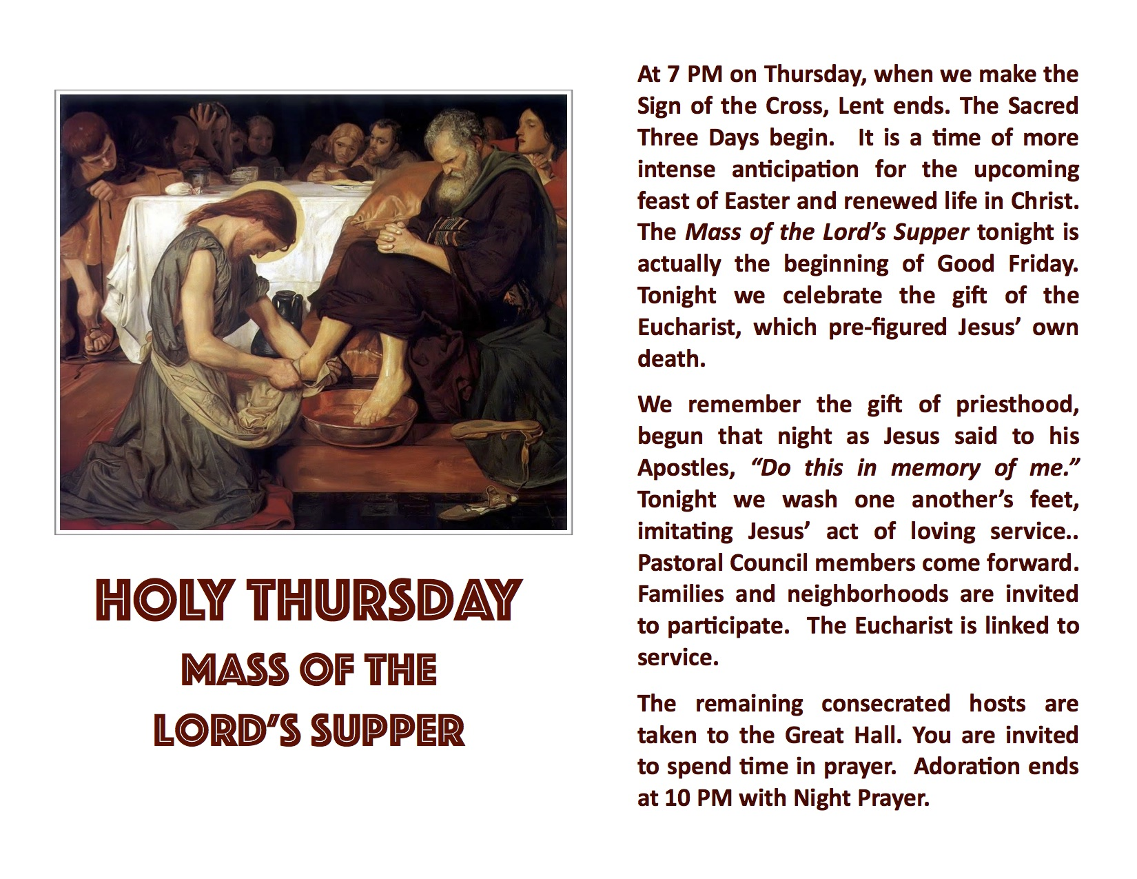 Holy Thursday Monitor